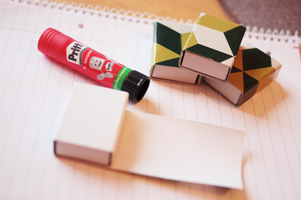 2. Dann schneidest du nach dem Muster der Schablone 25 Mal das Papier in der Gr??e f?r die Schachteln aus und beklebst sie damit.